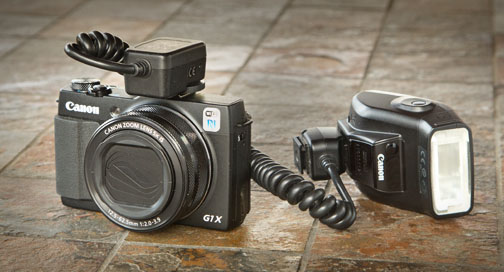 Powershot G1X Mark II With 270EX II attached to off-camera shoe cord