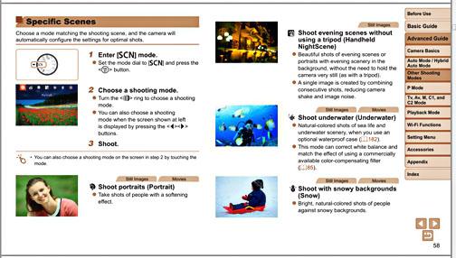 Screen shot of pdf manual for Canon Powershot G1X Mark II
