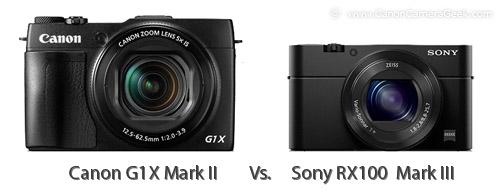 Sony RX1000 Mark III vs. Canon G1X Mark II size comparison