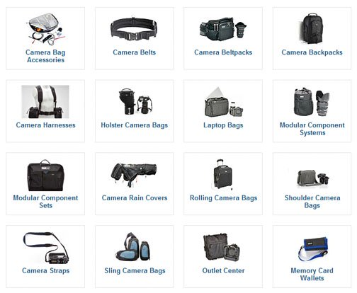 ThinkTankPhotos has a large variety of camera bags. lens case, belt bags, and gadget holders