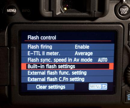 70D built-in flash settings