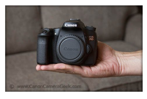 The Canon EOS 70D's dimensions make it fit in the palm of your hands
