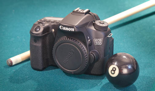 Canon EOS 70D size comparison with a billiard cue ball