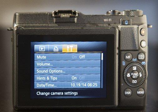 Menu on the G1X Mark II Screen