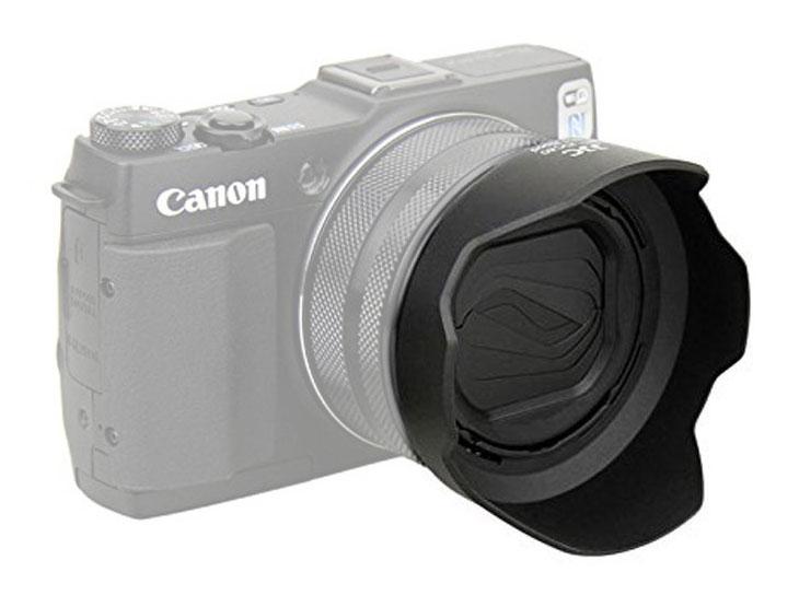 Forward facing lens hood for Canon G1X Mark II Camera