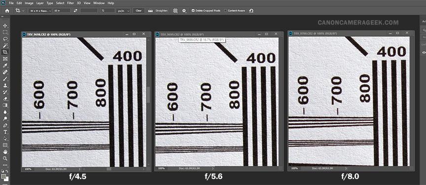 Side by side sharpest lens aperture test