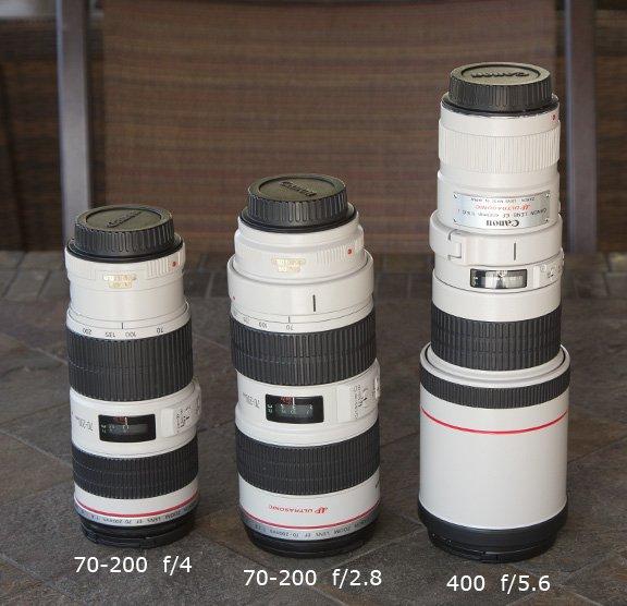 Size comparison-Canon EF 70-200 f/4.0 - 70-200 f/2.8 and 400 f/5.6