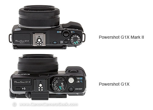 Top View-size comparison of G1X Mark II and the original G1X