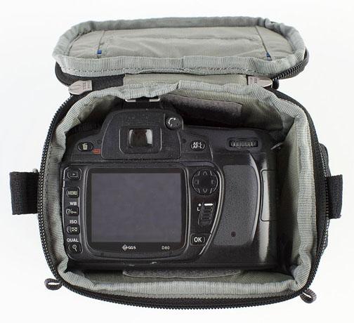 Top view of digital camera holster