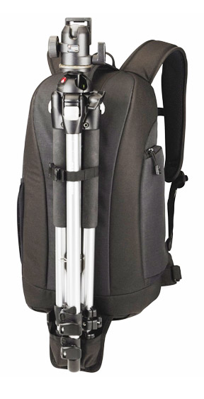 Travel camera bag with tripod holder
