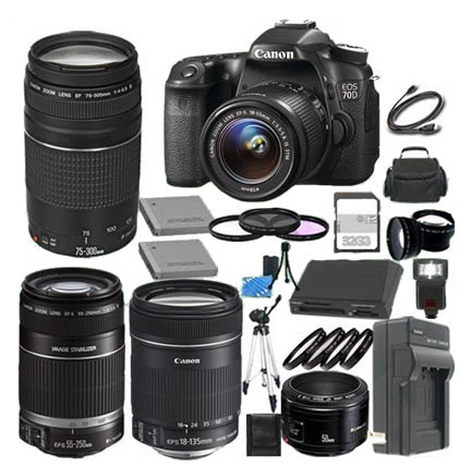Canon 70d-5 lenses-many accessories