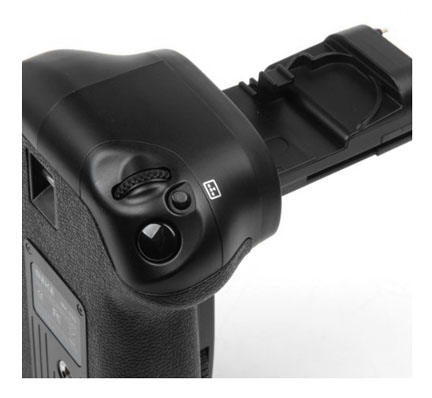 Vertical controls on front of Canon 70D grip