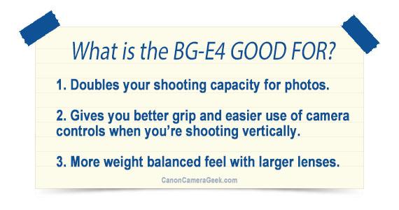 BG-E4 battery grip advantages