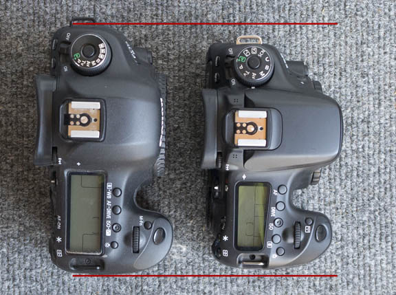 Width comparison of Canon 5D Mark III and EOS 70D