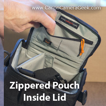 camera bag internal storage compartment